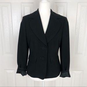 Ann Taylor Classic Black Button Front Blazer